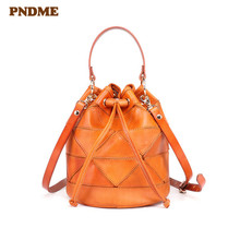 купить PNDME fashion vintage genuine leather ladies shoulder bag designer handmade stitching soft cowhide women messenger bags handbag дешево