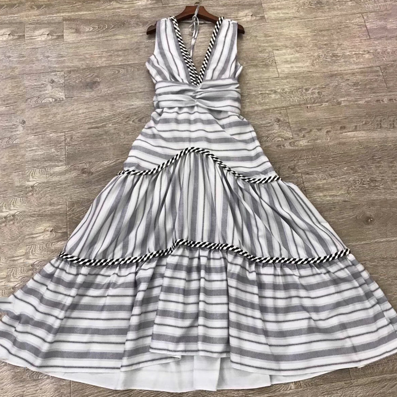 Sexy V-neck Dress Long Summer Elegant Sleeveless Party Backless Striped Dress With Bow 2019 Fashion New Arrival Dress Women