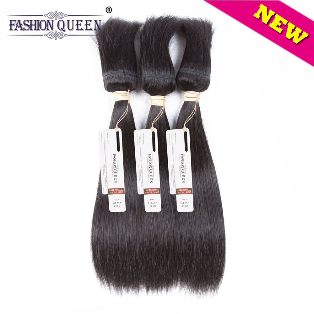 Fashion Queen Braid in Bundles Brazilian Hair Straight Hair 3 Bundles 120g/Pc No Glue No Thread Braid in Human Hair Extensions ...