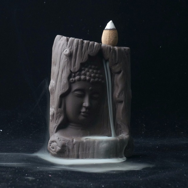 Incense Burner Buddha Statue Home Decor With 20 pcs Backflow