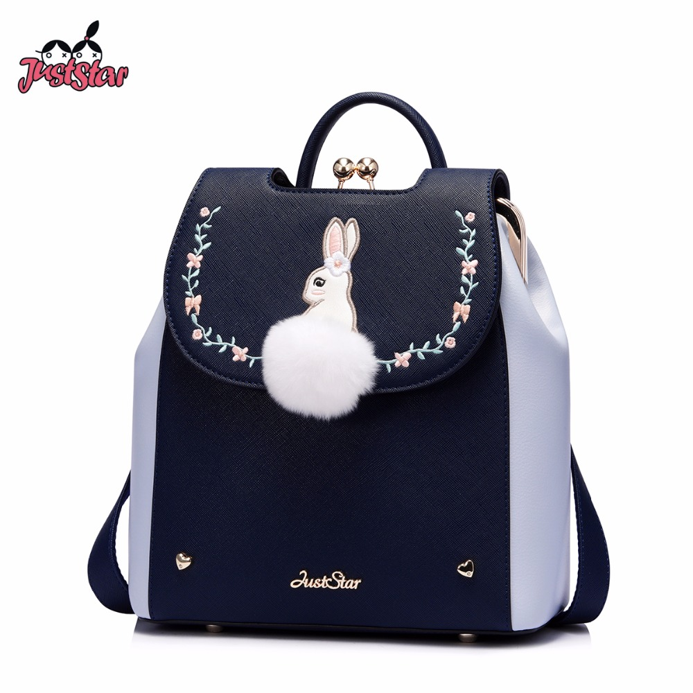 JUST STAR Women's Backpack Female Cartoon Rabbit PU Leather Double Shoulder Bags Ladies Embroidery Fur Ball Rucksack JZ4627