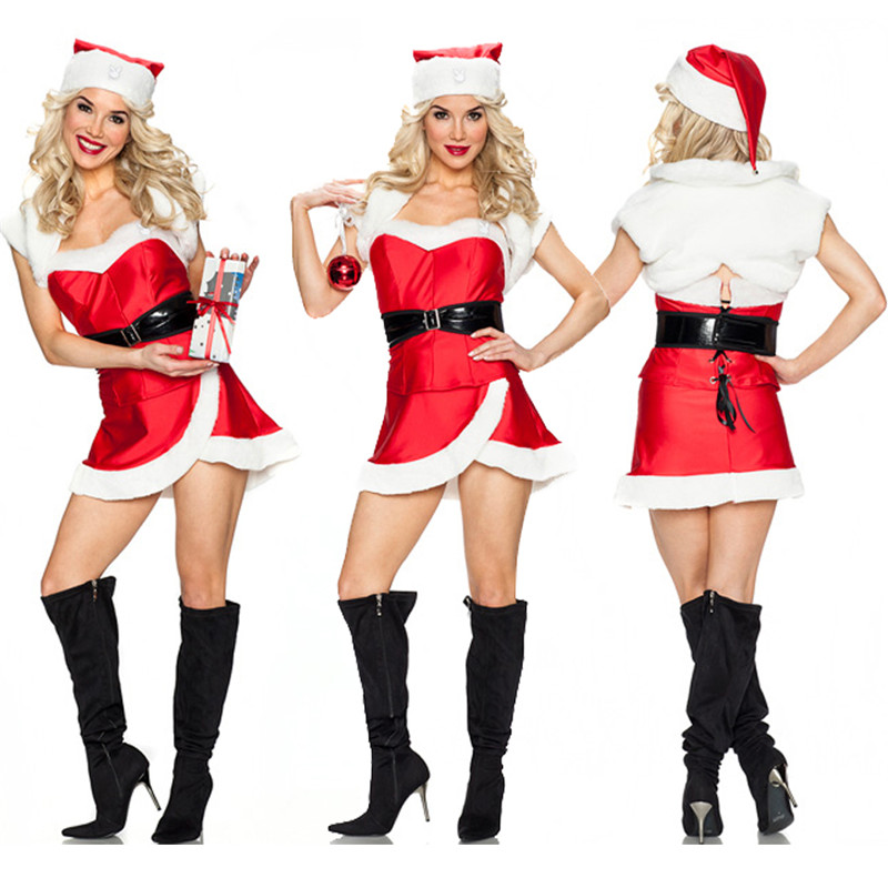 2018 new high quality sexy christmas costumes Women Christmas Carnival Cosplay clothing Night Club Outfit Red Christmas Dress