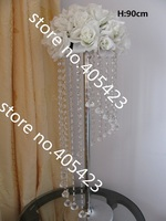 Height 90cm table stand crystal bead wedding decoration road lead flower shelf centerpiece with bead (Not include flower)10pcs