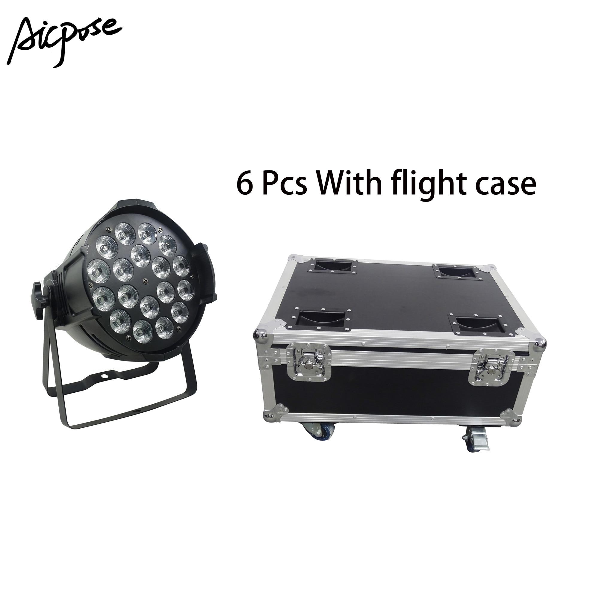 6pcs 18*12w Light Aluminum LED Par 18x12W RGBW 4in1 LED Par Can Par 64 Led Spotlight Dj Projector Stage Light With Flight Case