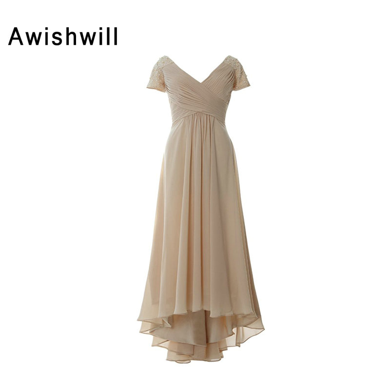 Newest Champagne Color Mother of The Bride Dress Short Sleeve Ruched Bust Chiffon Beadings Occasion Pageant Dress Evening Gowns