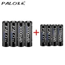 4Pcs 1.2V 3000mAh AA Rechargeable Battery AA NiMH 1.2V Ni-MH Pre-charged Bateria+4pcs AAA Battery Baterias Bateria Black