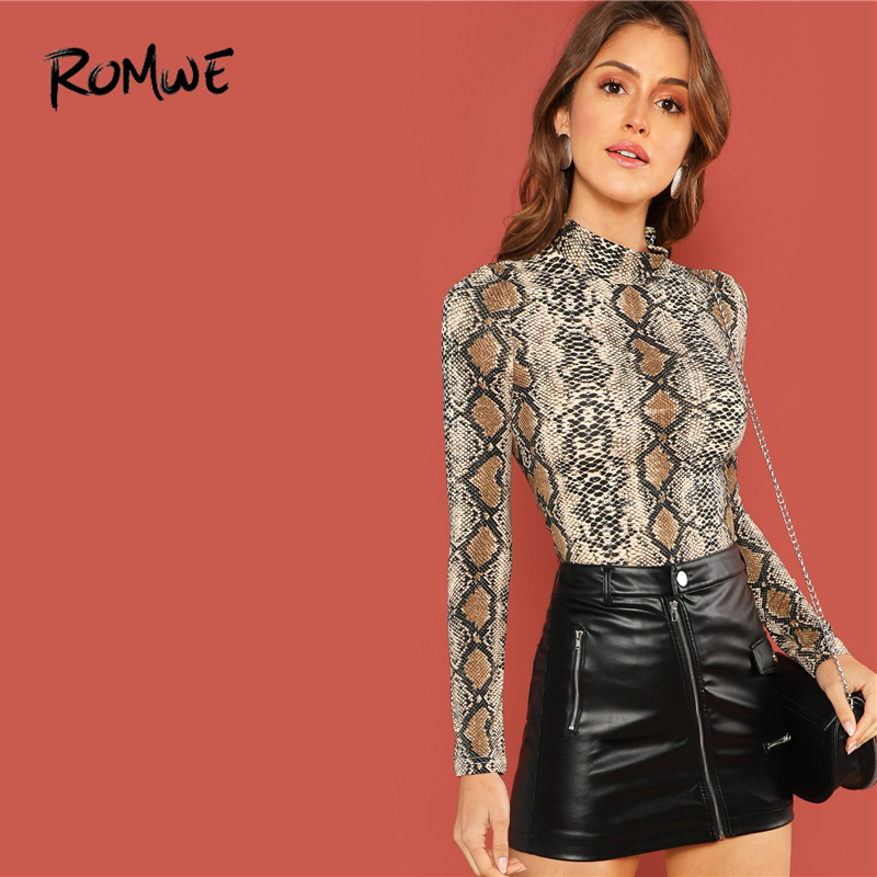 ROMWE Mock Neck Snakeskin Fitted T-Shirt Long Sleeve Slim 2019 Spring Stand Collar T Shirt Women Autumn Fashion Ladies Tee