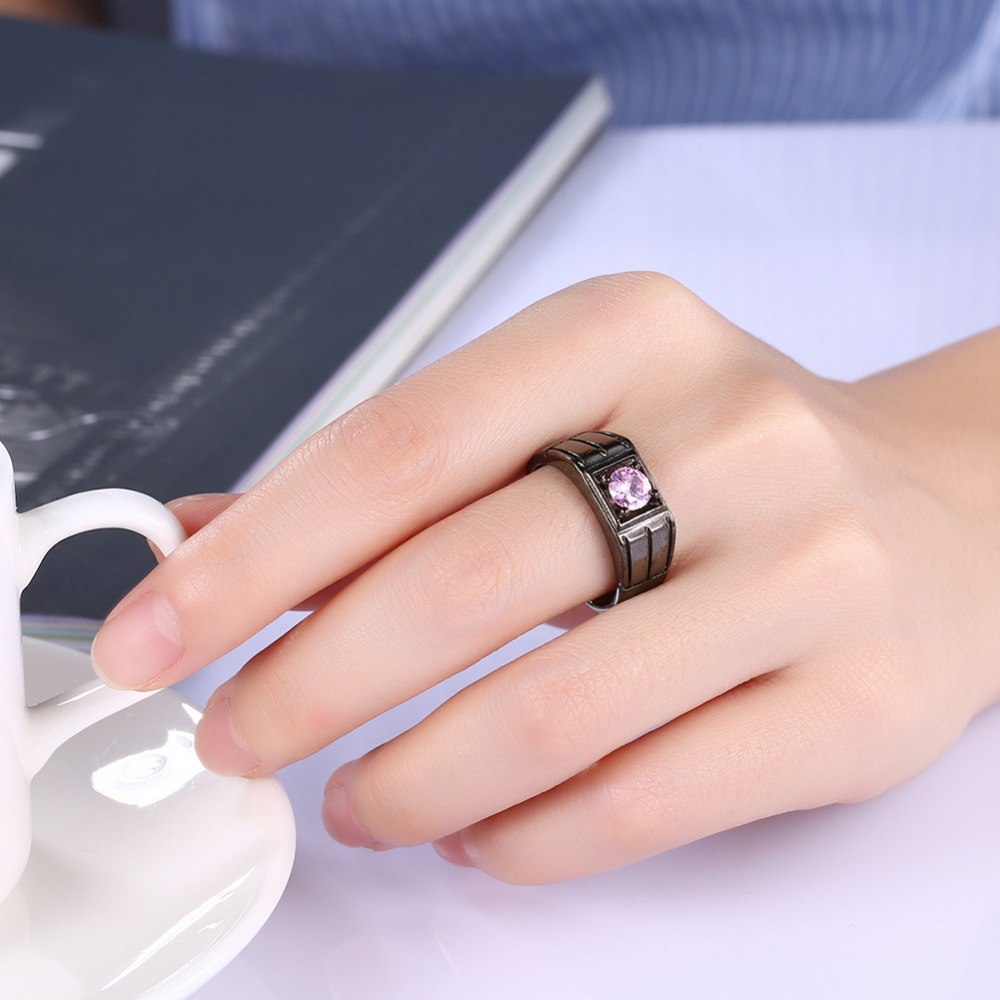 Cool Luxurious Black Gun Plated Rings For Men / Women 9MM Wide Bands ...