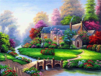 a929cd4884 Landscape village scenery new arrival DIY Crystal full drill square 5D  diamond painting cross stitch kit mosaic round rhinestone