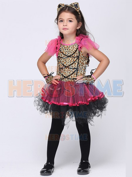 Halloween Leopard Print Fancy Dress Party Costume Tutu Dress