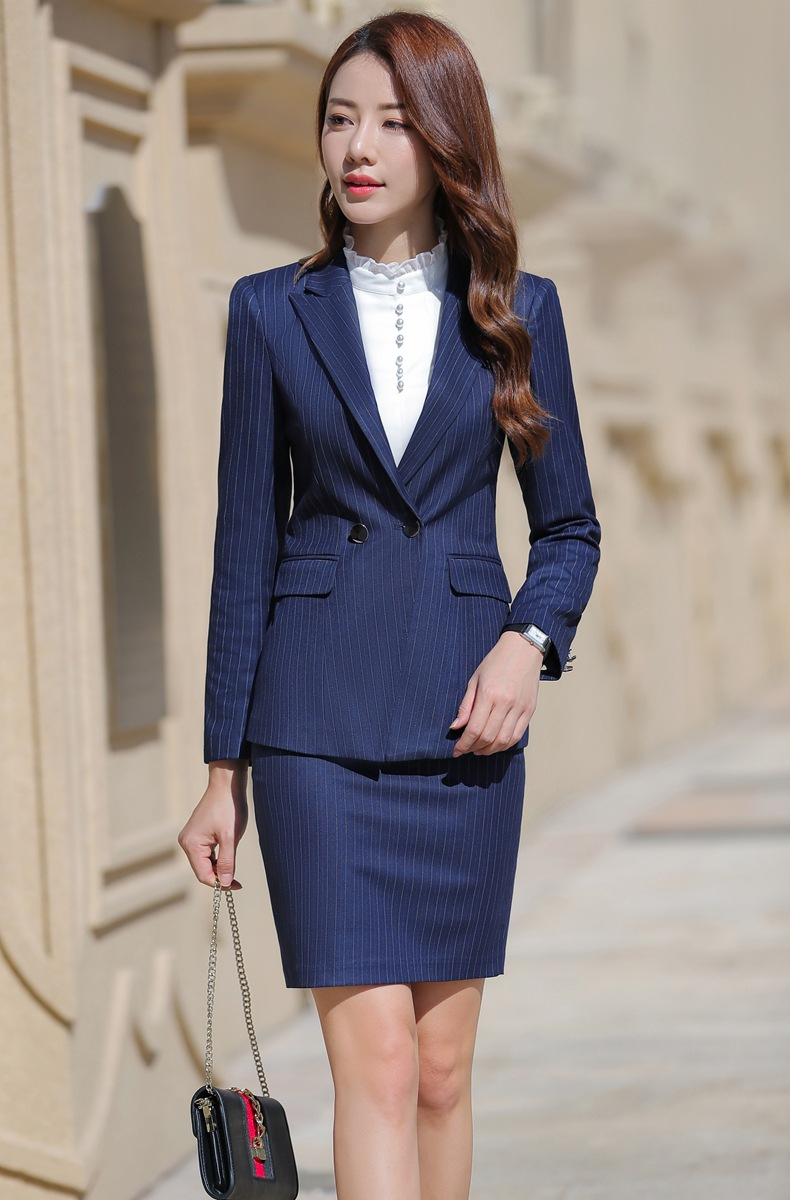 HTB1vMzAaaL7gK0jSZFBq6xZZpXab - Women Two Piece Outfits Elegant Stripe Full Sleeve Blazer+Skirt 2 Pieces Business Career Skirt Suits Office Clothes KY80869