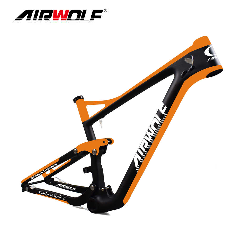 Airwolf suspension mountain bike frames accept OEM painting full suspension carbon frame 29 142*12 Thru Axle disc brake frame