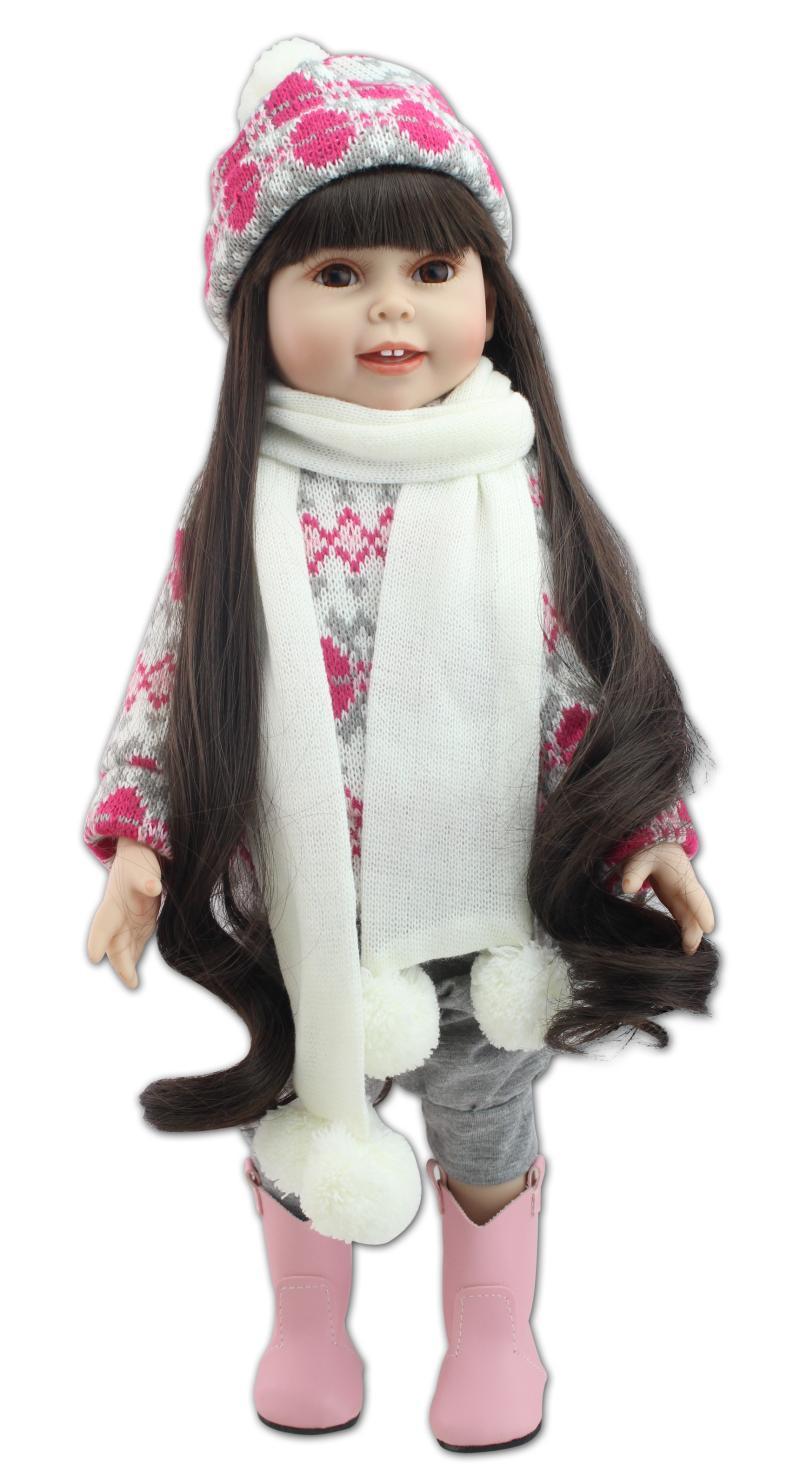 18 дюймов Reborn Девочка Кукла Прекрасная кожа принцесса кукла милый мягкий пластик Bebes Reborn куклы Младенцы Девочки куклы для детского подарка