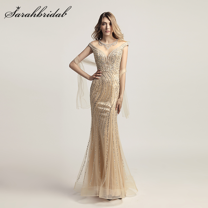 Real Photos New Mermaid Arrivals   Evening     Dresses   Sexy Tulle Floor Length Formal Crystal Beaded Robe De Soiree LSX470