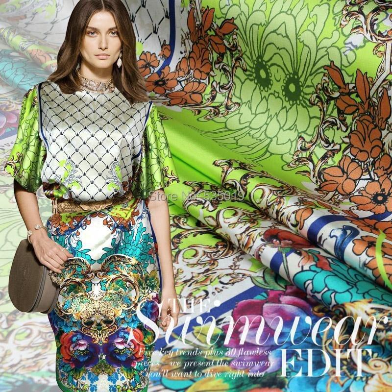 2014新しいファッション女性スーパーポプリン織100%シルク生地縫製服スカートシャツジオメトリ素材プリント生地partes delケーブル同軸