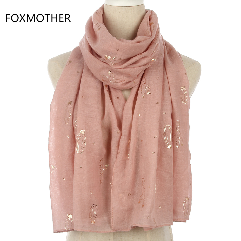 FOXMOTHER New Fashion Shiny Pink Cactus Foil Gold Scarves For Women