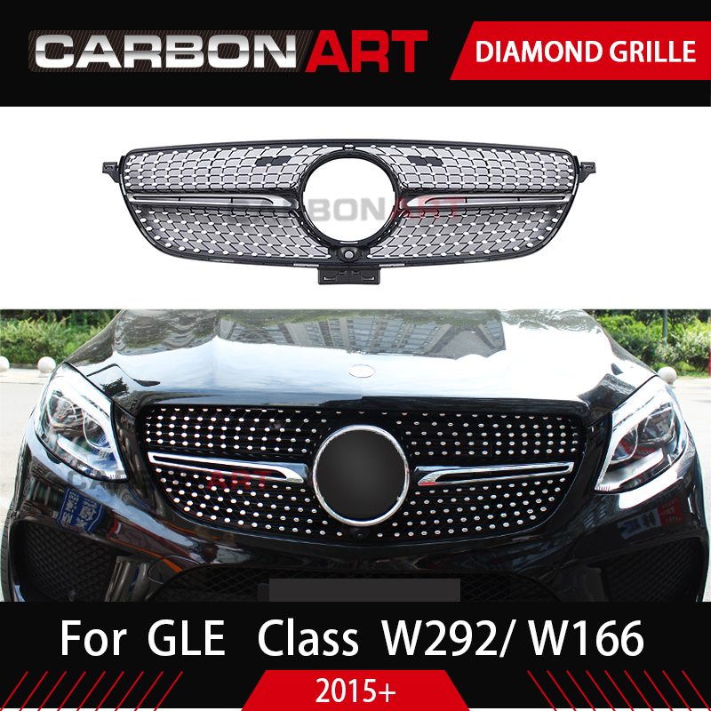 C292 Diamond Grille For Mercedes GLE Class W166 W292 Coupe 4Matic Black Chrome Front Racing Grill