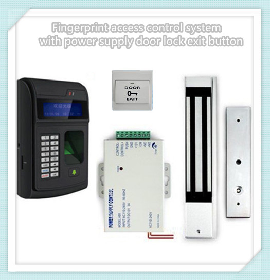 цена на Fingerprint access control system with power supply door lock exit button