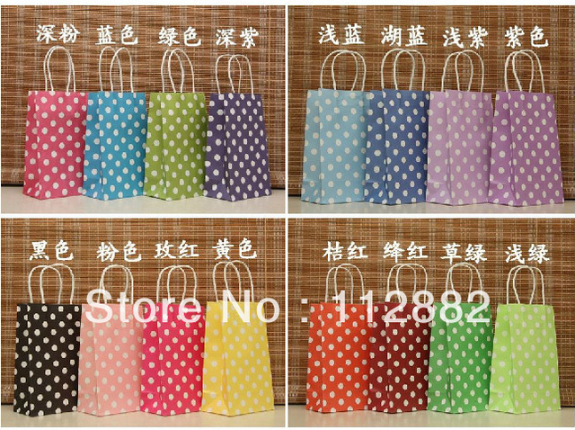 Polka Dots Shopping Paper Bags for Brithday Party  Favor, kraft paper gift bag, Festival gift bags Free Shipping