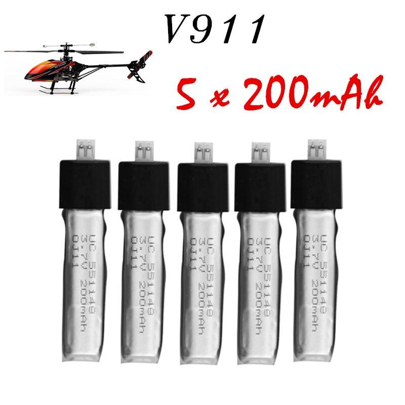 5Pcs 3.7V 200mAh Lithium Batteries 5pcs Wltoys V911 RC Helicopter brushless motor Accessories Bag KV911-0005 F929 F939 BATTERY