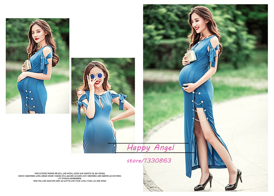 New Maternity Photography Props Pregnant Women Blue Sexy Dress Costume  Summer Style Baby Shower Photo Shoot Free Shipping