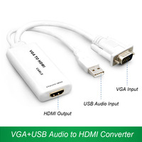 VGA To HDMI Converter Cable Adapter V1 4 HD 1080P USB Audio Interface For XBOX One