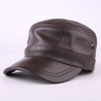 2017 Korean Style Winter Leather Flat Cap 100% Genuine Leather Peak Baseball Cap Hip Hop Hats Men's Winter Warm Hat B 7190