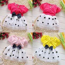 2016 wholesale hot sell baby toddler girls princess party layered bowknot dot tulle dress 0-4Y