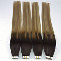 Tape In Remy 100% Human Hair Extensions Straight Hair 50g/pack 18'' 22 Tape Hair Weft Ombre color tangle free/shedding free