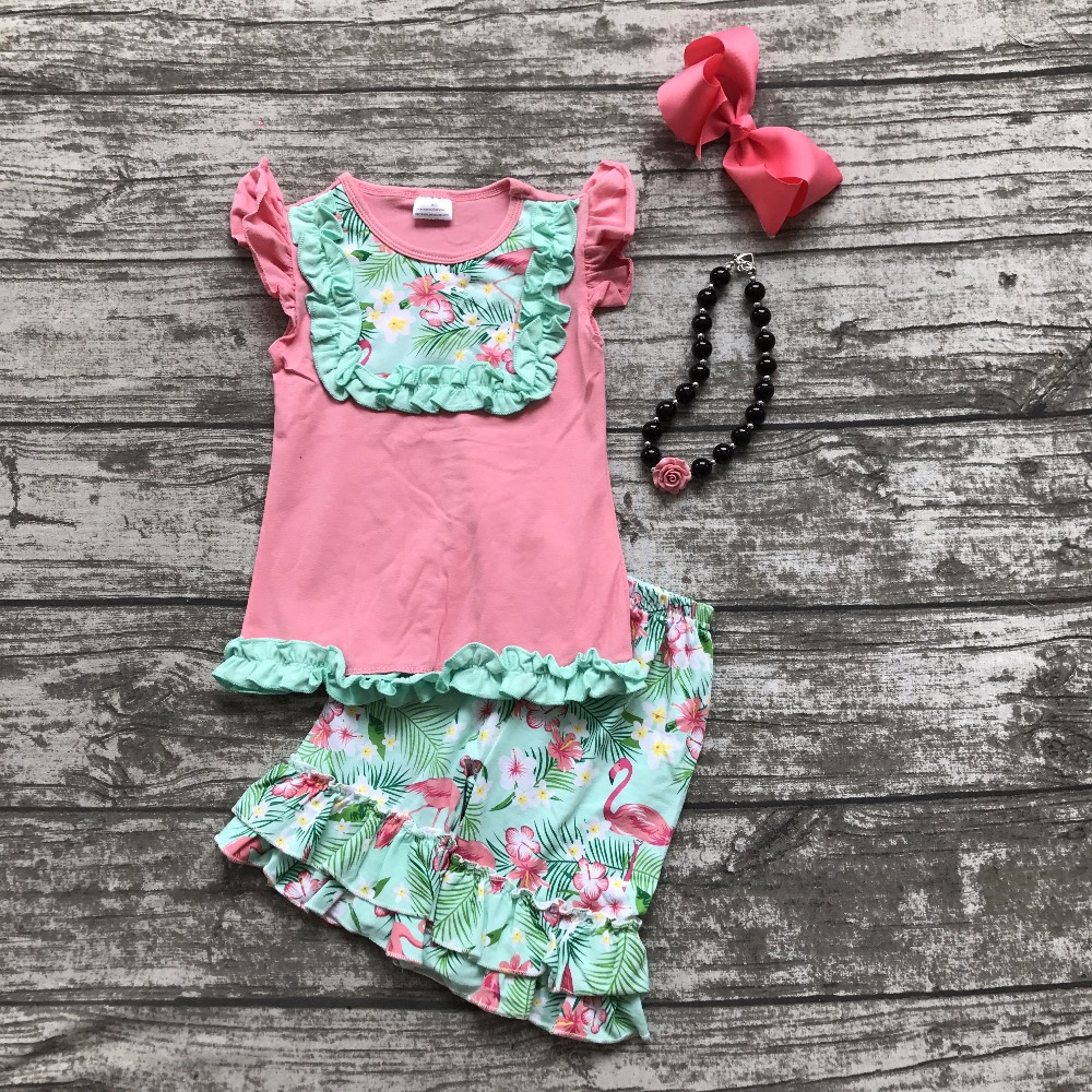 baby Girls Summer clothes girls flamingo ruffle shorts outfits baby girls summer coral top clothing with matching accessories