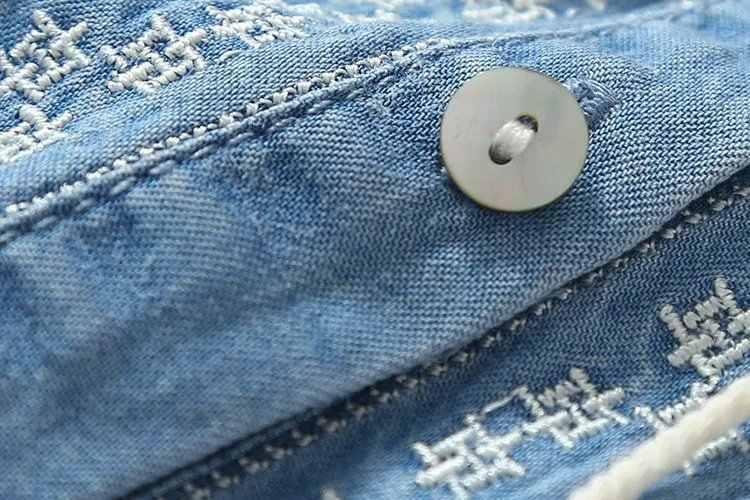 אתני רקמת ג 'ינס שמלות נשים יד שרוול O-צוואר מזדמן חולצה שמלת אביב 2020 בתוספת גודל Vestido Feminino ג' ינס