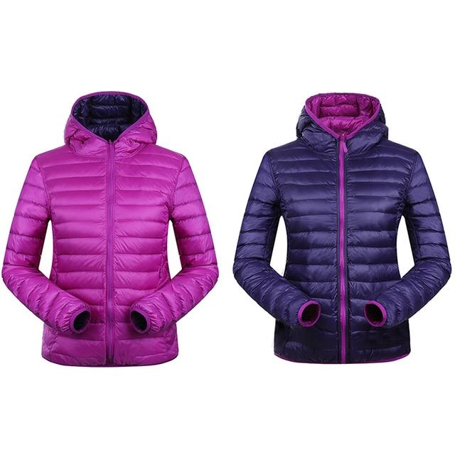 Winter Women Down Jacket Hooded Ultra Light Down Jackets Two-side Wear Women jacket 90% White Duck Down Winter Coat UHLULC