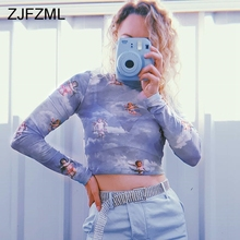 Cupid Angel Print Mesh Sexy Causal Transparent T Shirt Women Long Sleeve Turtleneck Harajuku Tee Kawaii Crop Top
