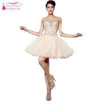 Шампанское Короткие Мини Тюль Beadings Кристалл Платья для вечеринок Модные Коктейльное Платье Настоящее платье