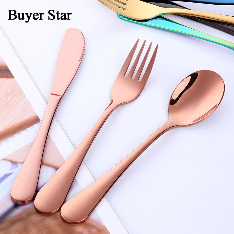 18pcs Kids Tableware Set Black Children Cutlery Set Lovely 18 10 Stainless Steel Food Grad Blue