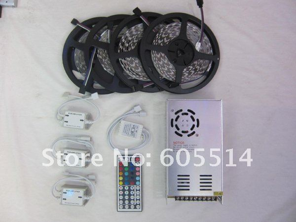 [Seven Neon]X'mas IR remote controller+led strip amplifier+12V 30A Power Adapter+20M 300leds/rool 5050 led SMD RGB Led strip