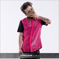 Hot 2015 New Men S Clothing Fashion Color Block Rivet Shirt Slim Short Sleeve Chiffon Shirt
