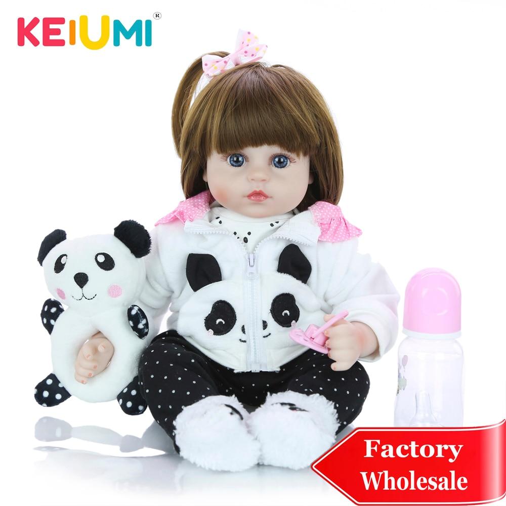 KEIUMI Wholesale 18 Reborn Silicone Alive Boneca Menina Doll Toy Cosplay Panda Beb Birthday Children s