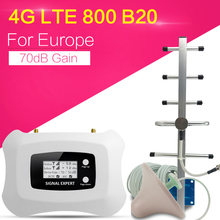 จอแสดงผลLCD 4G LTE 800MhzสัญญาณBooster 70dB LTEแอมพลิฟายเออร์LTE 20อินเทอร์เน็ต4Gโทรศัพท์มือถือrepeater Extenderสำหรับยุโรป