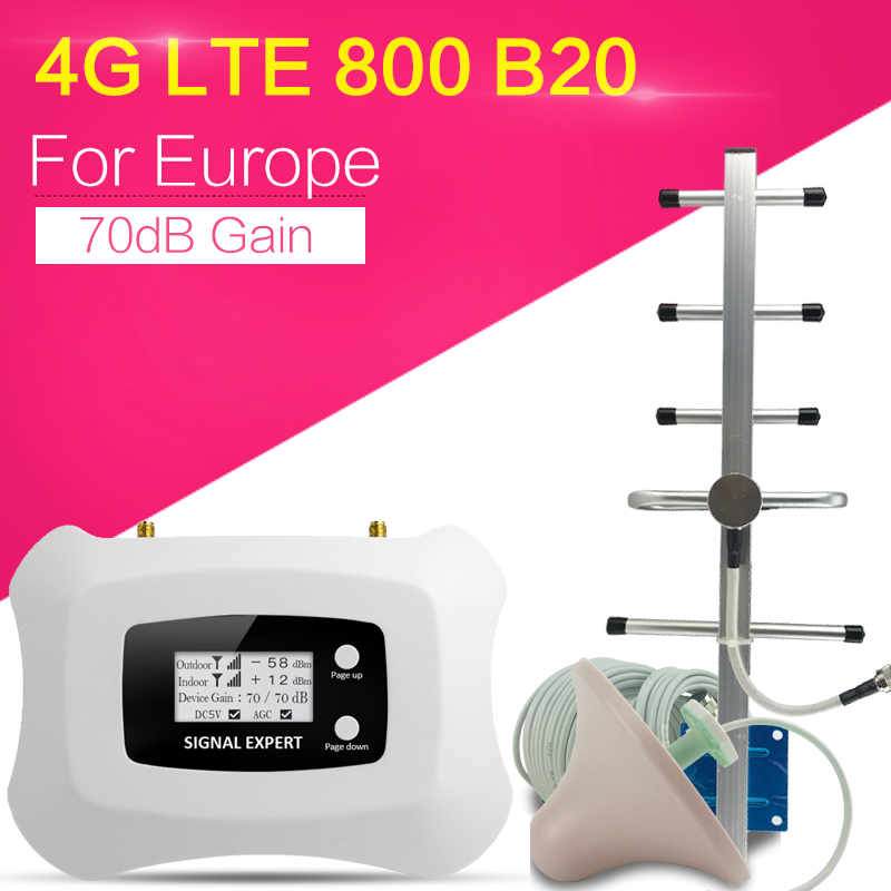LCD Display 4G LTE 800mhz Cellular Signal Booster 70dB LTE Amplifier LTE Band 20 4G Internet Mobile Repeater Extender For Europe