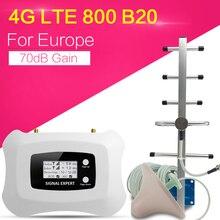 Lcdディスプレイ4 4g lte 800 900mhzの携帯信号ブースター70dB lteアンプlteバンド20 4 3gインターネット携帯リピータエクステンダーヨーロッパ