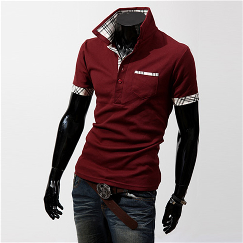 2016 men's fashion plaid color block decoration   polo   shirts male slim short-sleeve patchwork clothing men's turn-down collar tee