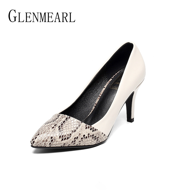 Women Pumps High Heels Shoes Woman Spring Autumn Pointed Toe Ladies Shoe Thin Heel Soft Leather Sexy Office Wedding Shoes Female