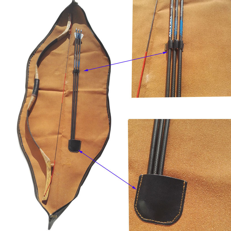 153x27cm Archery Traditional Recurve Bow Bag PU Leather Traditional Bow Carry Case Holder Arrow Bow Accessories dmar archery quiver recurve bow bag arrow holder black high class portable hunting achery accessories