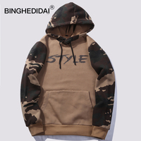 Mens Camouflage Hoodies Spring Mens Fleece Hoodies Patchwork Style Kahaki Camouflage Patten Mens Clothing Tops Spring