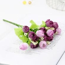 22 CM Artificial Flowers Rose Pink Silk Peony Bouquet 5 Big Head Fake Plants Home Wedding Bridal Shower Indoor Decoration