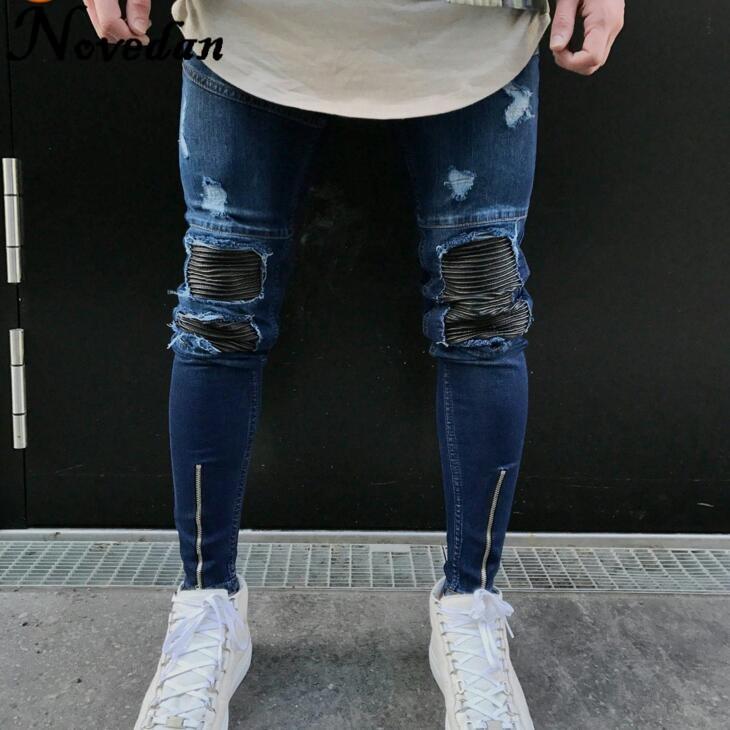 Новый Kanye West черный Рваные джинсы Для мужчин с отверстиями джинсовые супер узкие бренда Slim Fit пуш-ап джинсовые штаны размера плюс байкерские ...