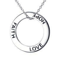 Genius 925 Sterling Silver Faith Love Hope Circle Round Necklace Unisex Jewelry Best Gifts Joyas De