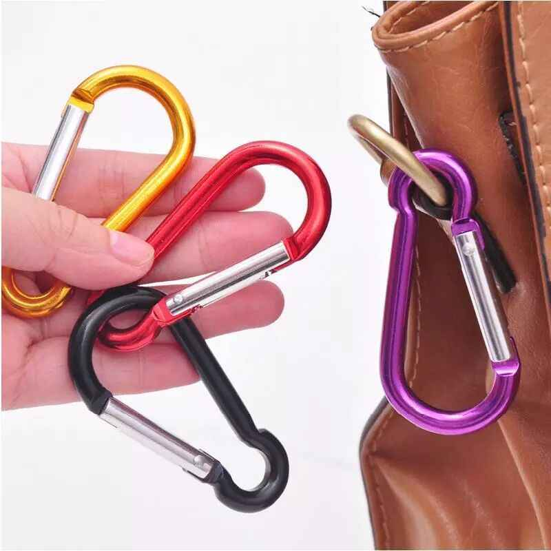 10pcs/lot Climbing Button Carabiner Camping Hiking Hook Outdoor Sports Multi Colors Aluminium Safety Buckle Keychain