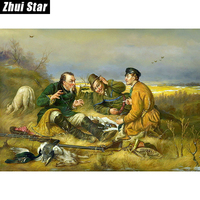 Hunter Party 60X40 3D DIY Diamond Painting 100 Full Square Drill Cross Stitch Embroidery Rhinestones Home